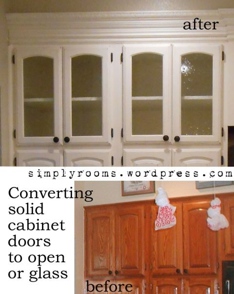 Diy changing solid cabinet doors to glass inserts for Kitchen cabinets glass inserts