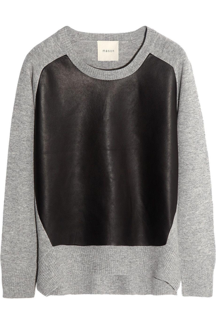 Mason by Michelle MasonLeather-paneled wool and cashmere-blend ...