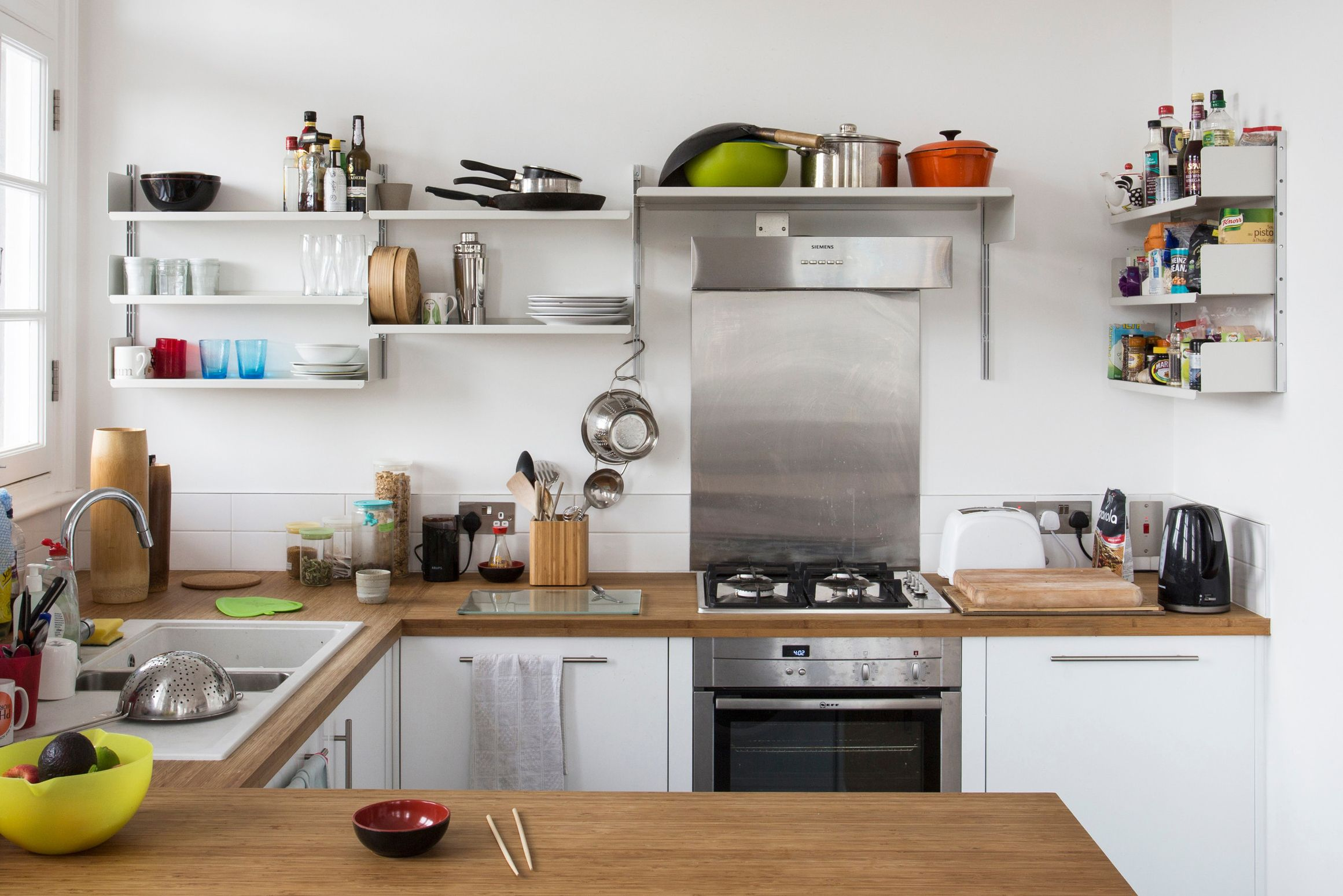 with such a bright kitchen richard didn t want on kitchen shelves instead of cabinets id=77385