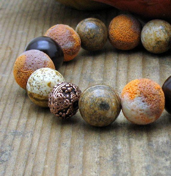 Mustard Chocolate Brown Modern Beaded Bracelet / Spice Colored Stretch Bracelet / Rustic / Woodland/ On Trend / Silk Road / Saffron