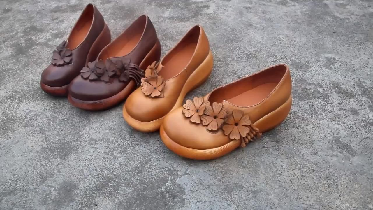 #womensshoes #retroshoes #leathershoes #handmadeshoes #platformshoes #wedgeheels #yellowshoes