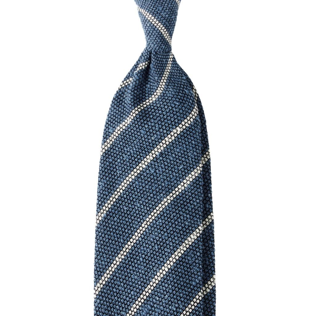 Striped Grenadine/Shantung 3-fold Tie - Sea/White