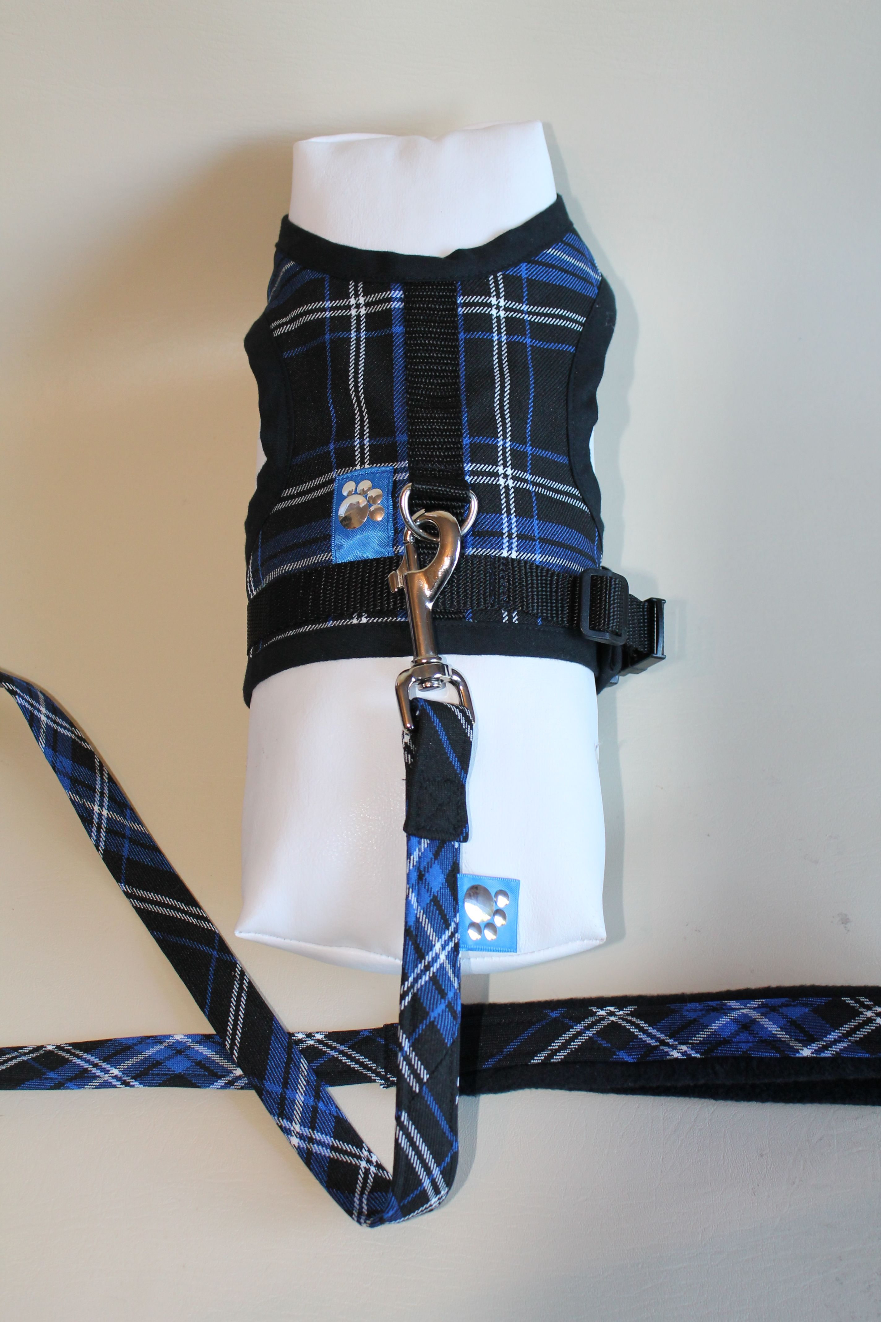 Blue Tartan Harness and Lead Set... now £12.99
