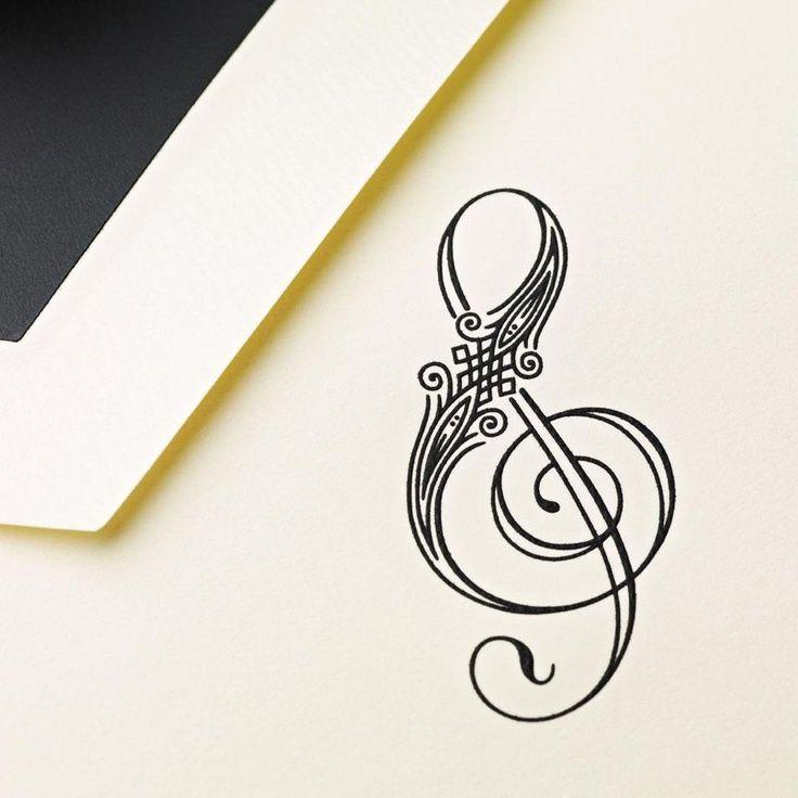 Photo of Hand Engraved Treble Clef Note |  | Crane.com