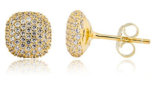 e2f6fa20a Mia Sarine 14K Gold Plated Silver Cubic Zirconia Pave Cushion Women's Post Stud  Earrings **