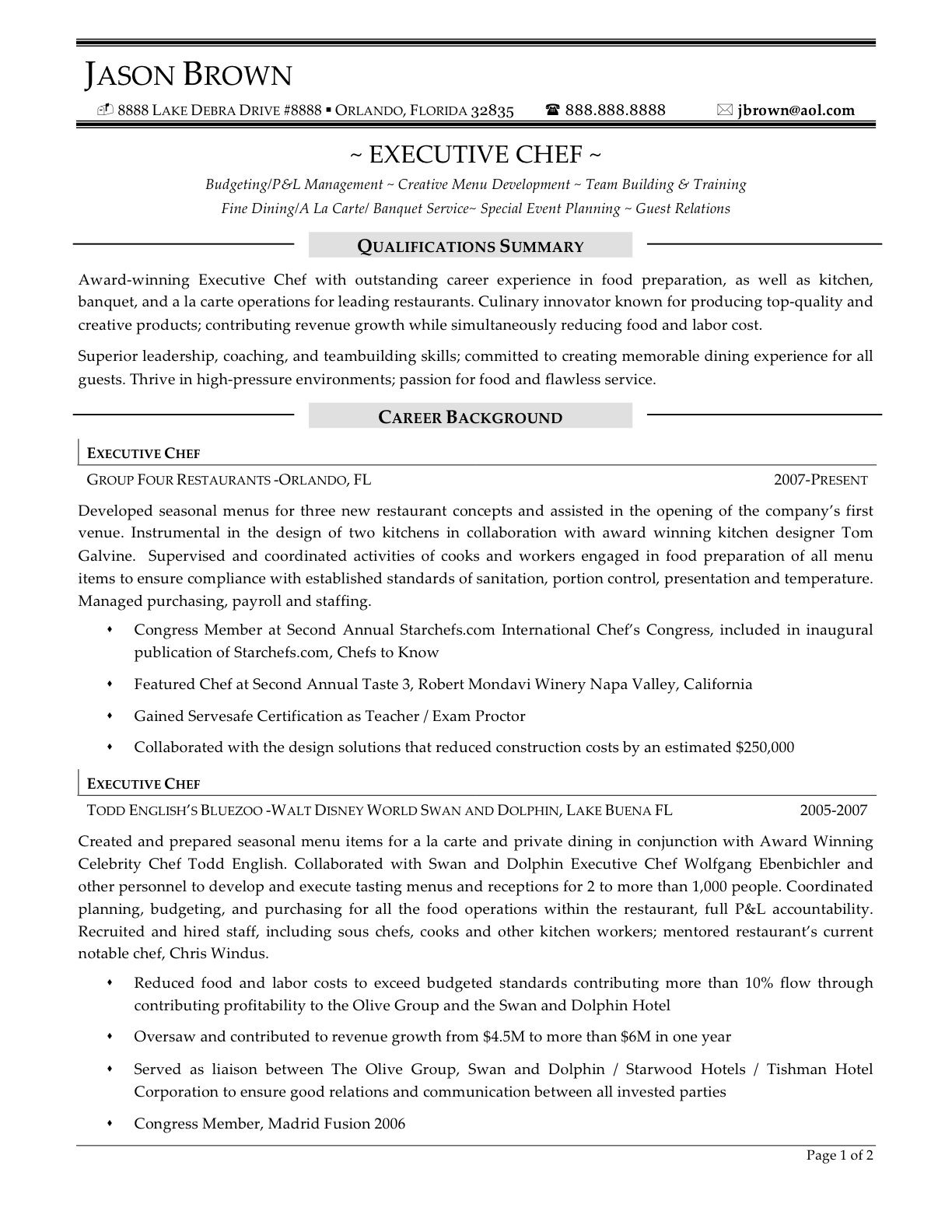 executive chef resume  sample