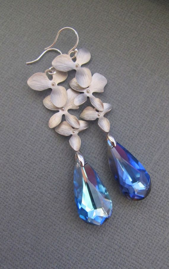 Leilani Silver Matte Orchids and Bermuda Blue by RoyalGoldGifts