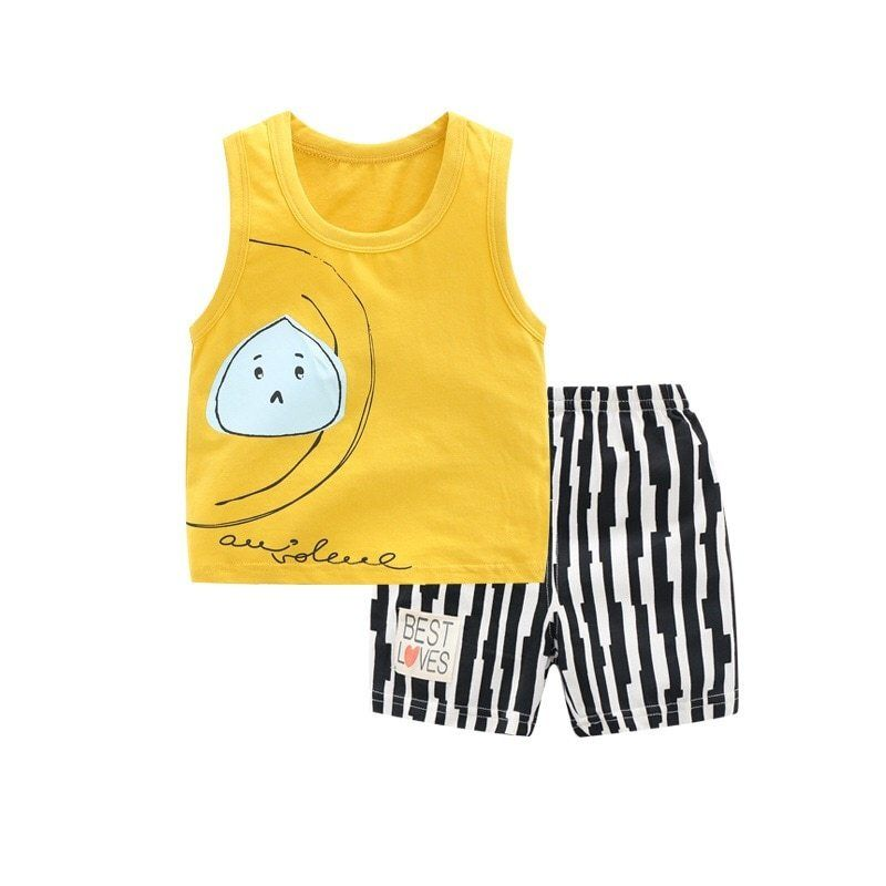 329de4aabec6 Summer Baby Girls Boys Clothes Set Sleeveless Tank Tops Vest+Shorts Outfits  Kids Clothes Girls Sport Suit Children Clothing