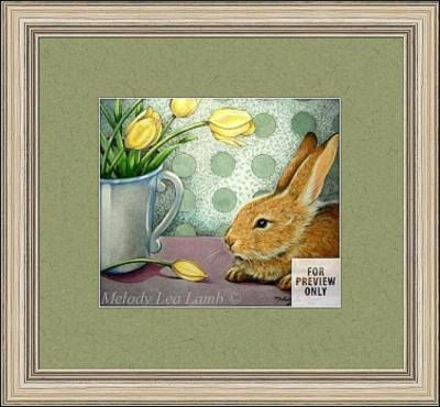Spring Bunny Rabbit and Tulips Colored Pencil Still Life