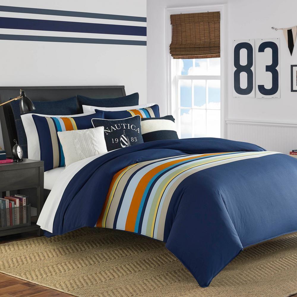 Nautica Heritage 3 Piece Navy Full Queen Comforter Set