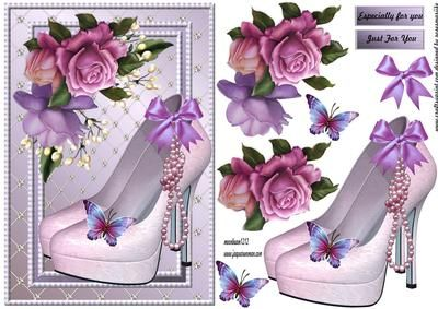 Fabulous shoes Pearls butterflies on Craftsuprint designed by Marijke Kok - Gorgeous elegant design for a pretty female card. - Now available for download!