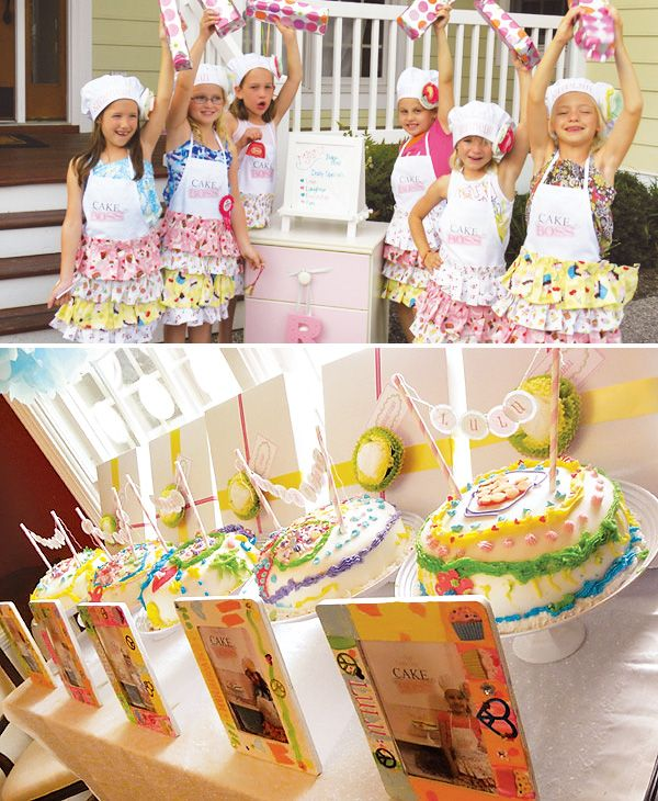 Cake decorating party where each kid gets an apron with their name. Cute idea!