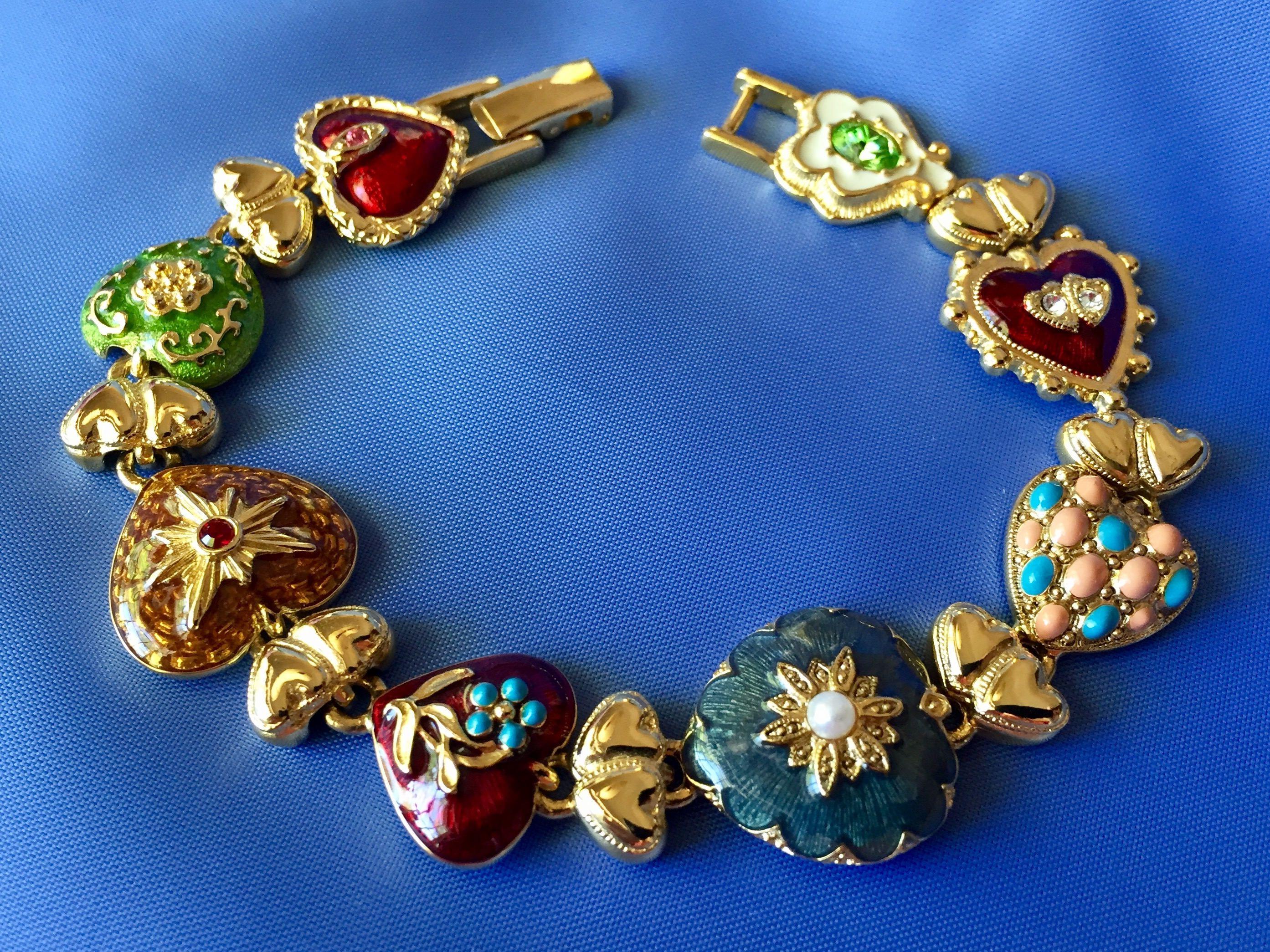Vintage Enamel Heart Bracelet