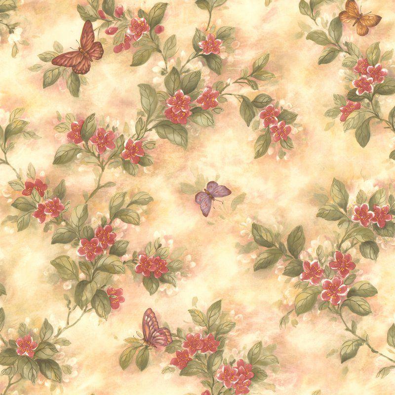 Brewster Lisa Butterfly Floral Wallpaper - 436-38573
