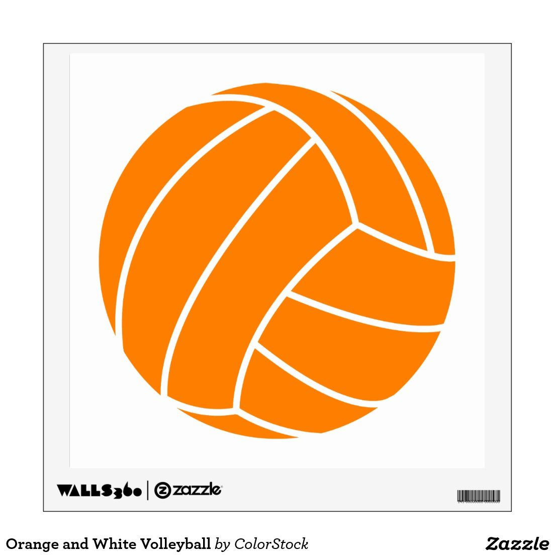 Orange And White Volleyball Wall Decal Zazzle Com Volleyball Posters Volleyball Clipart Volleyball