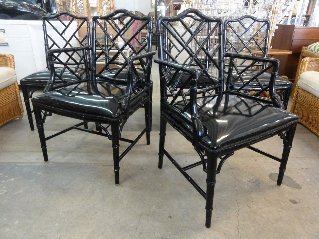 Bamboo chippendale chairs - Set Of 6 Faux Bamboo Chippendale Chairs