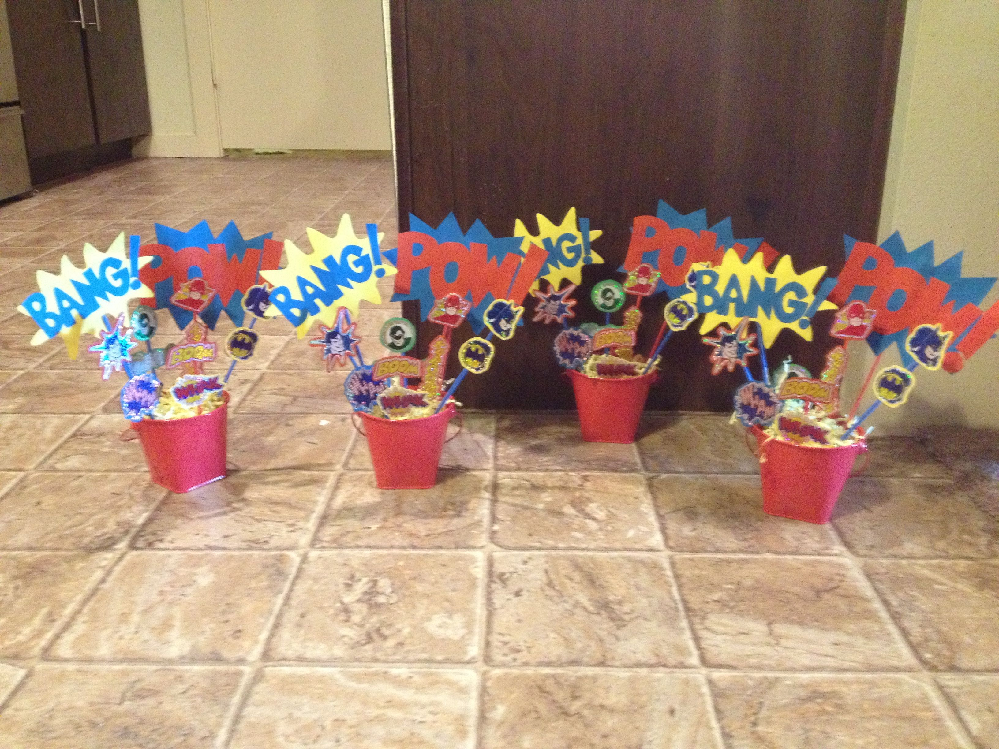 Superhero baby shower centerpieces - would be easy to print out