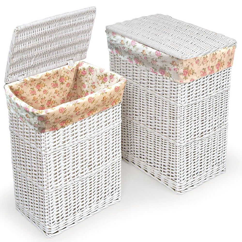 Details about large medium rectangular floral white wicker laundry baskets lid hampers storage - White wicker clothes hamper ...