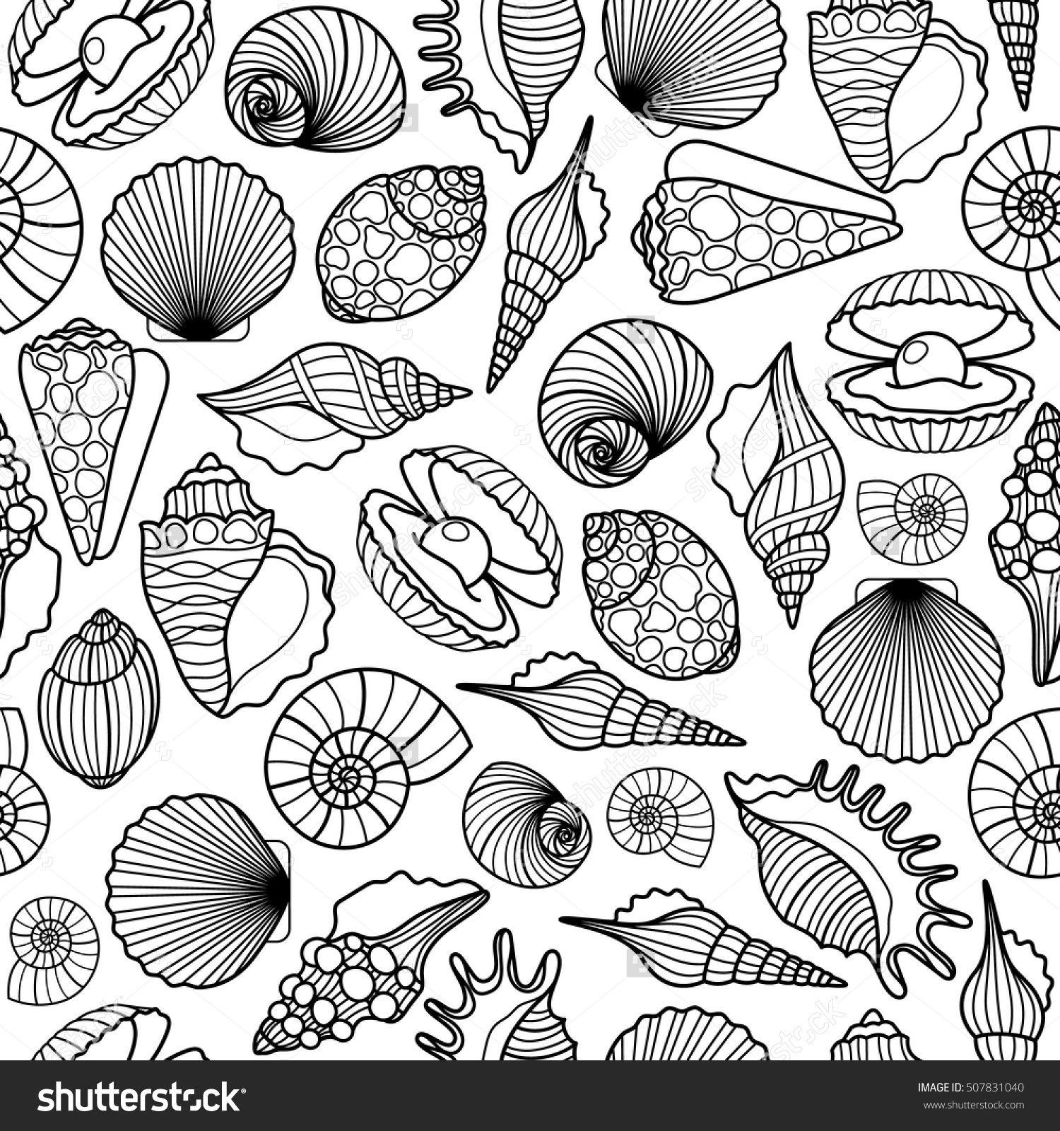 Hand Drawn Sea Shells Black Vector Seamless Pattern