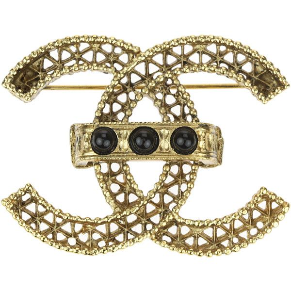 Pre-owned Chanel 11A Gold CC Black Beads Brooch ($595) ❤ liked on Polyvore featuring jewelry, brooches, preowned jewelry, chanel, yellow gold jewelry, beading jewelry and chanel jewellery