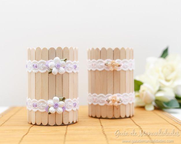 Floreritos con latas y palitos para decorar celebraciones - Decorar con manualidades ...