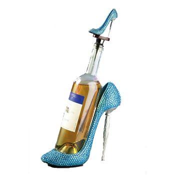 teal rhinestone high heeled shoe wine bottle holder and