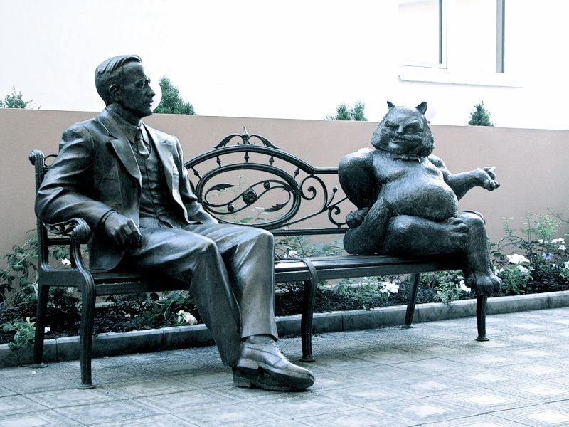 M Bulhakov And Cat Behemot Sculpture In Russia Cat Statue Sculpture Outdoor Sculpture