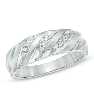 Men S 1 10 Ct T W Diamond Ring In 10k White Gold Clearance