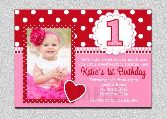 Valentines Birthday Invitation 1st Party Pink And Red Vale