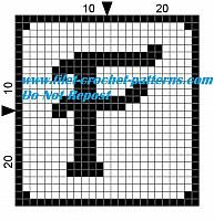 Alphabet letter F filet crochet pattern