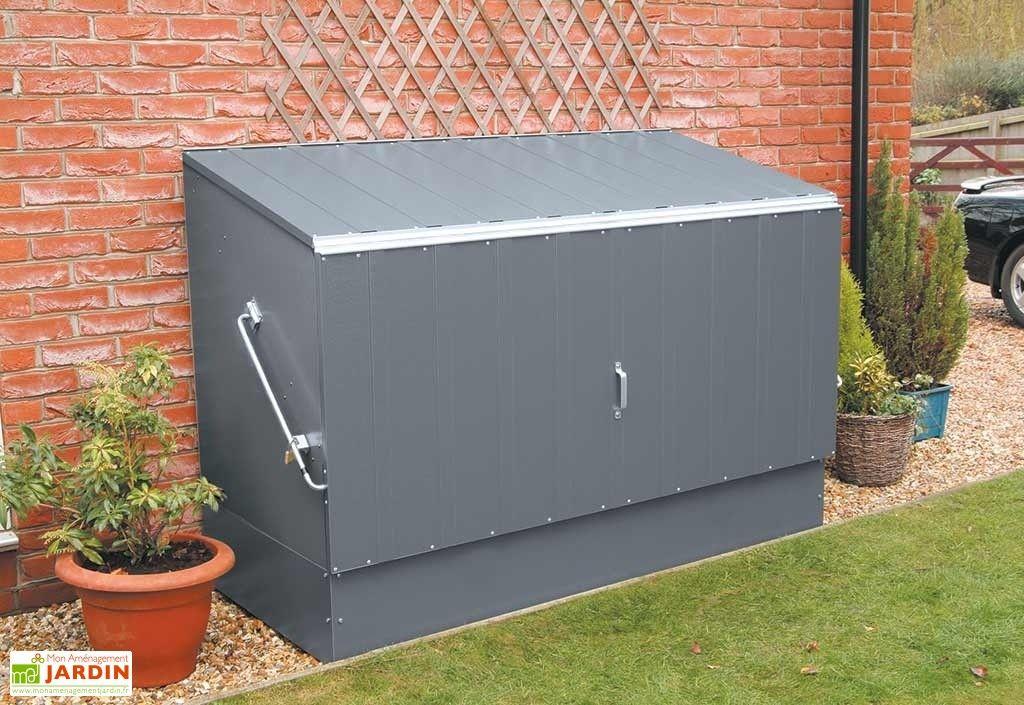 Coffre De Rangement Metal Velos Anthracite 196x89x133 Abri Velo Abri Velo Exterieur Rangement Metal