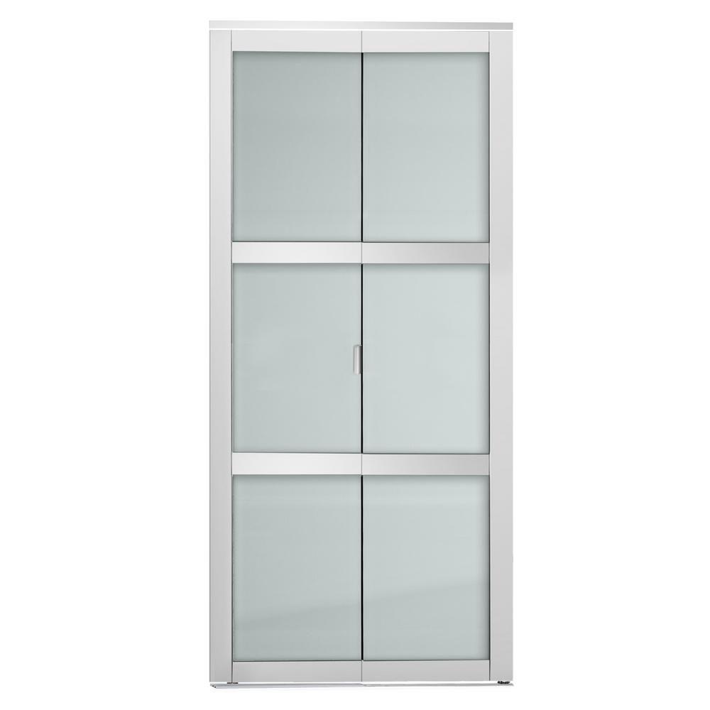 Colonial Elegance 36 In X 80 5 In White 3 Lite Indoor Studio 3 Mdf Wood Frame With Frosted Glass Closet Interior Bi Fold Door Is36bifold3w Closet Doors Frosted Glass Bedroom Closet Doors