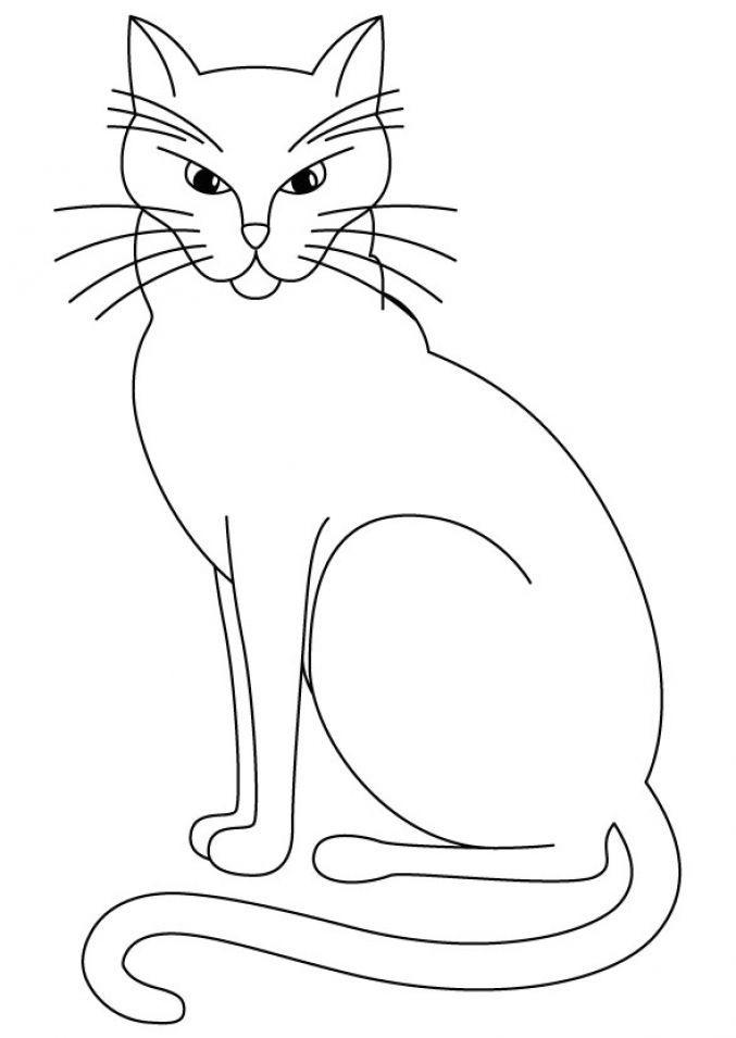 Рисунок кошка раскраска
