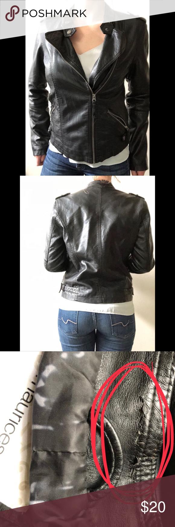 Biker Moto Jacket faux pleather medium A1 Pleather