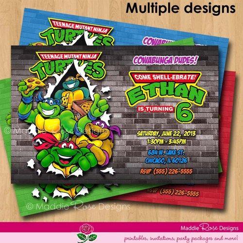 Teenage Mutant Ninja Turtles Invitation Printable TMNT Birthday