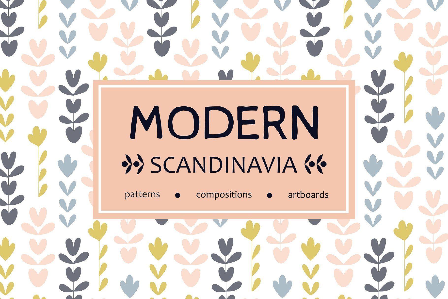 Scandinavian Floral Patterns Set Graphic Design Pattern Print Design Template Floral Pattern