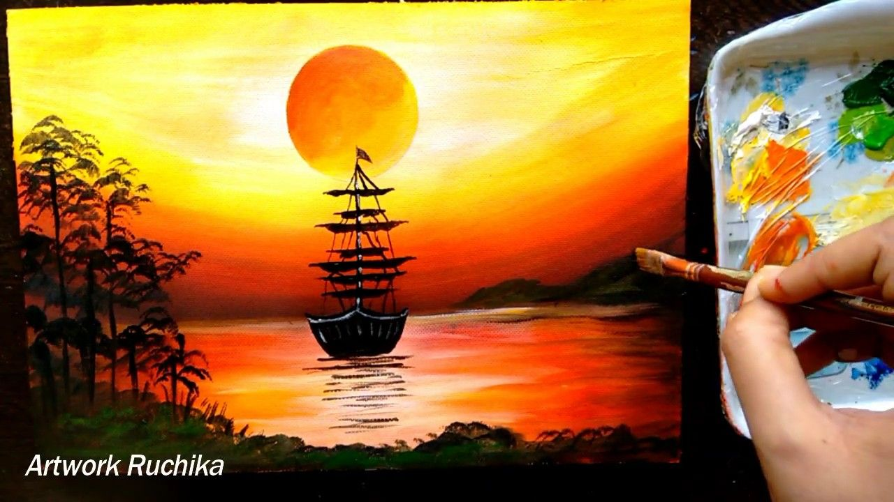 Sailboat Sunset Seascape Acrylic Painting For Beginners Youtube Sunset Painting Sunrise Painting Easy Canvas Painting