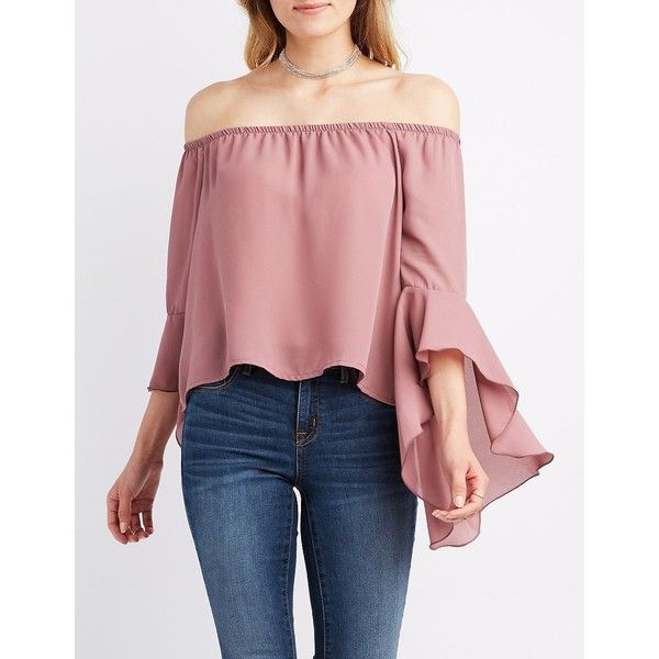 50ee0f1925bce7 Charlotte Russe Bell Sleeve Off-The-Shoulder Top ( 22) ❤ liked on Polyvore  featuring tops