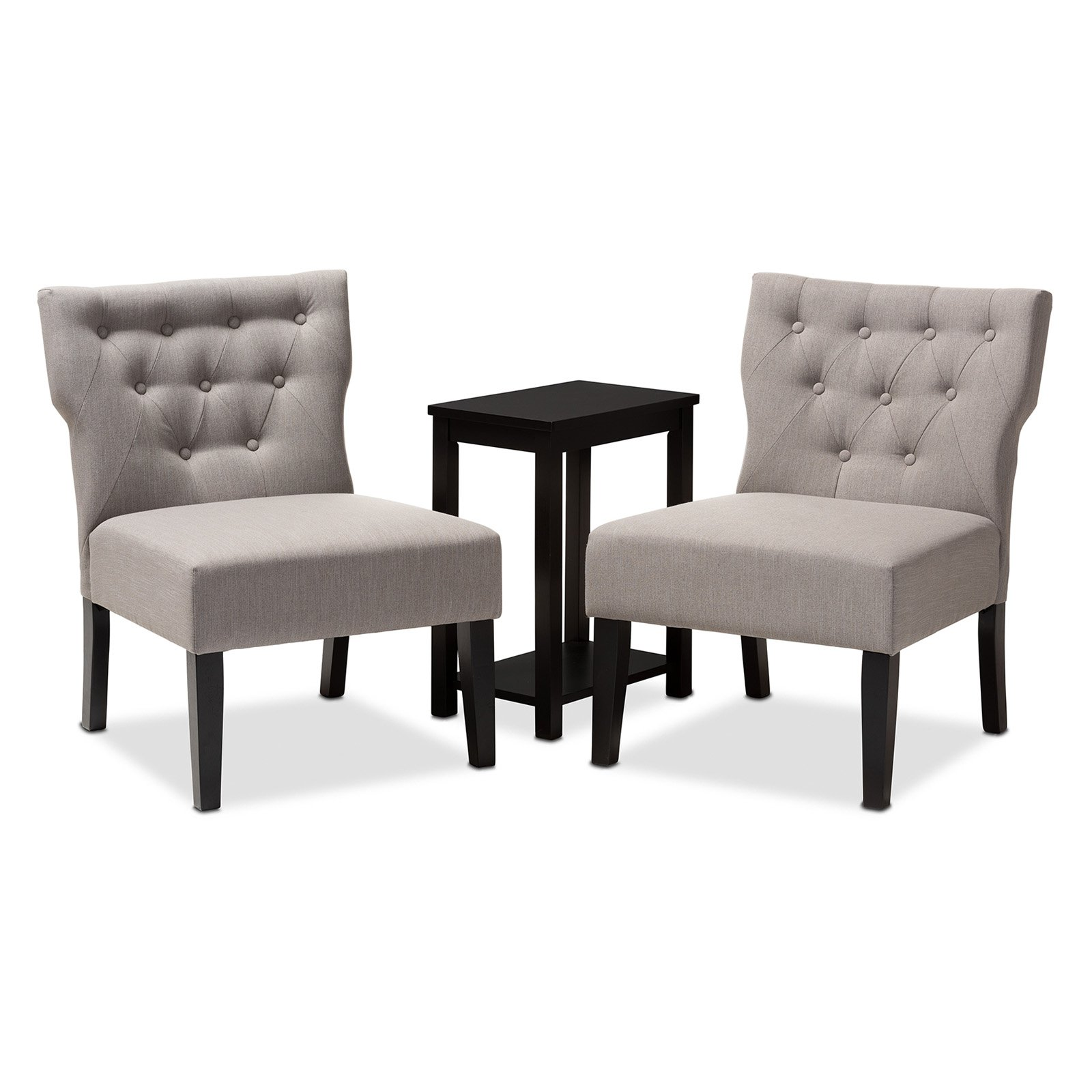 Baxton Studio Lerato 3 Piece Upholstered Tufted Accent Chair And