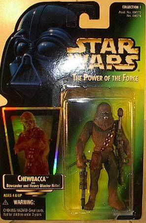 1997 Star Wars Power Of The Force Chewbacca w//Bowcaster /& Blaster Rifle NEW