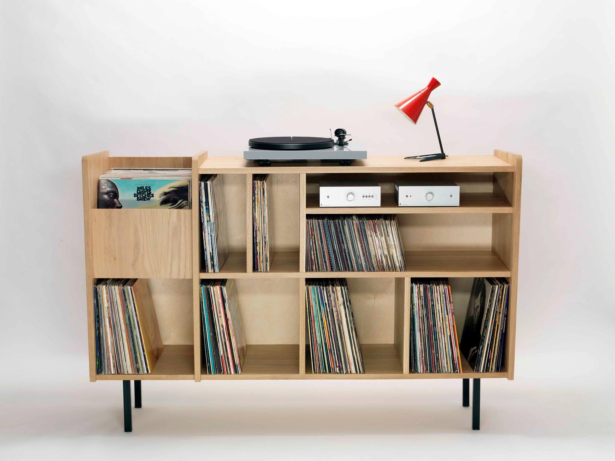 Meuble vinyles rétro