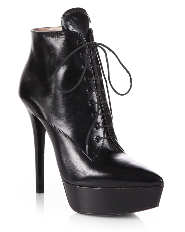 da3eaf6c3078 Prada Leather Lace-Up Ankle Boots
