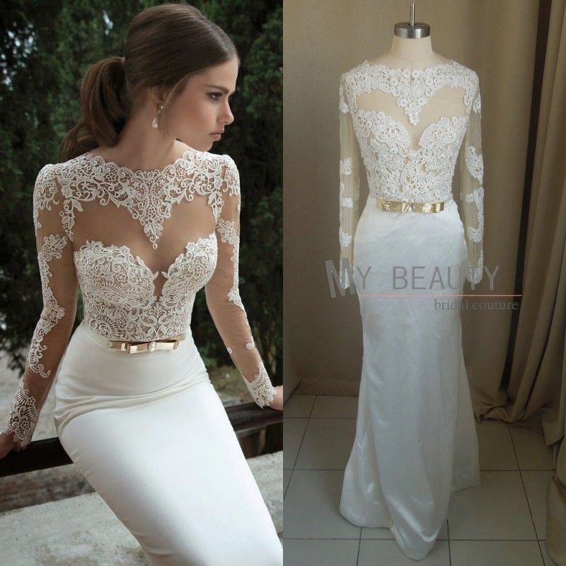 Vestidos de novia 2014 new arrival sexy backless bridal for Wedding dress with sheer sleeves