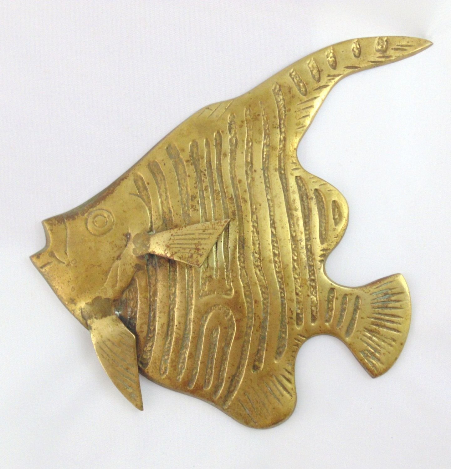 Vintage Brass Tropical Fish Angel Fish Mid Century Nautical Wall ...
