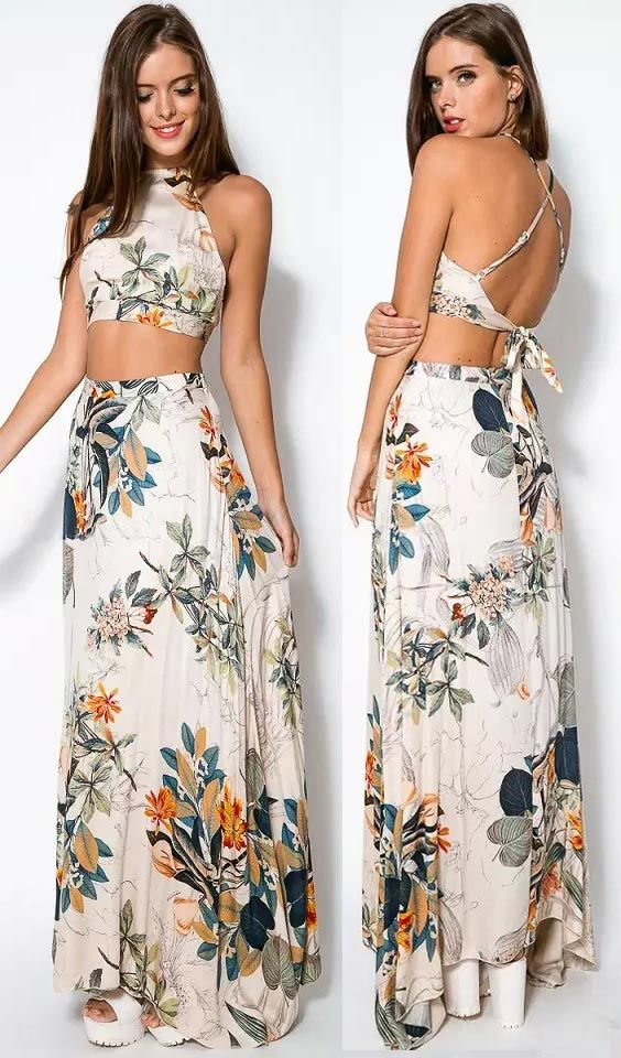fdaf39695 Add some artistic floral print to your wardrobe with perfect matching sets  of crop top and maxi skirt. Full of seasonal vibes all year round, ...