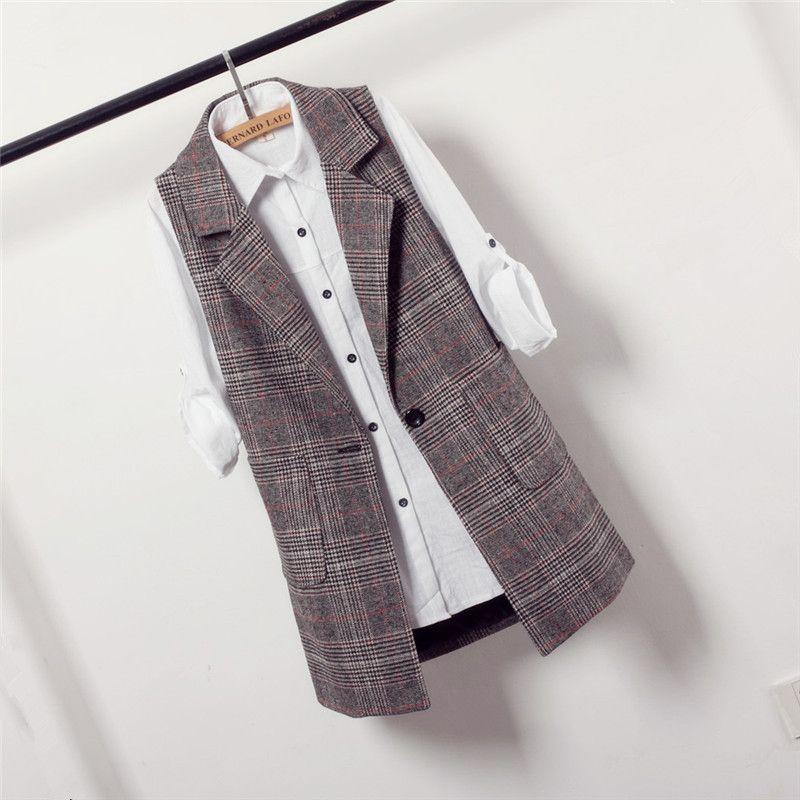 f7ab007f831 Модные клетчатые длинные Весте Femme 2018 новый корейский Тонкий куртка без  рукавов для Для женщин Весна