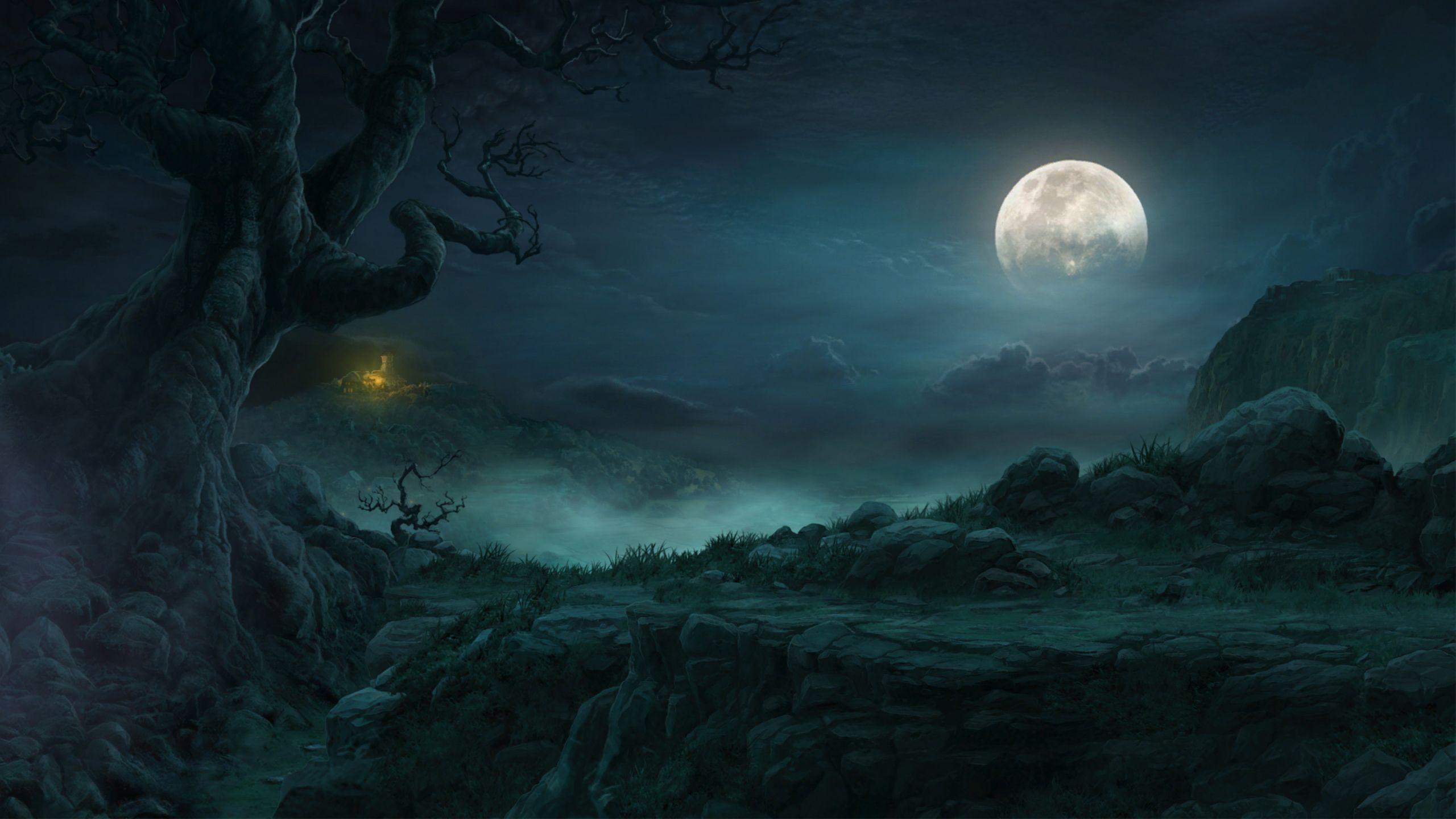 Fantasy Landscapes Fantasy Landscape Night Moon Rocks Tree Hut The Clouds Games Wallpaper Fantasy Landscape Night Landscape Fantasy