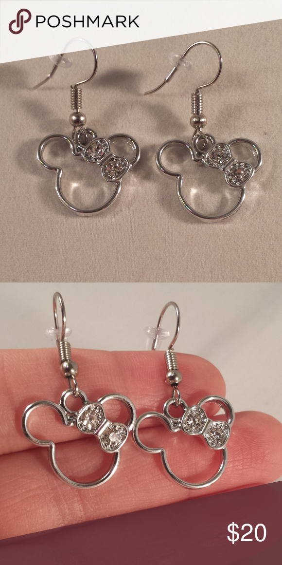 Minne Mouse Crystal Earrings Hypoallergenic Hooks These Mickey Minnie Bow Are 925