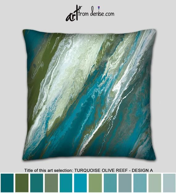 Olive and turquoise throw pillow for