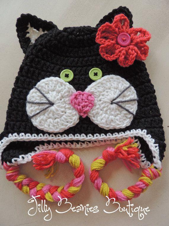Black Cat Hat, Kids Hat, Animal Hat, Kitty Hat, Girl Hat, Crochet ...